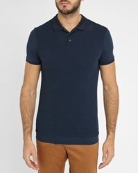 Ikks Navy Dual Fabric Textured Polo Shirt