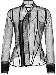 Rick Owens Lilies Sheer Fitted Jacket Black