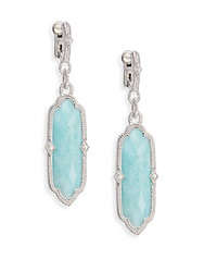 Judith Ripka Chelsea Amazonite White Sapphire And Sterling Silver Drop Earrings