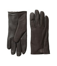 Ugg Leather Smart Gloves Snap Detail Brown Extreme Cold Weather Gloves