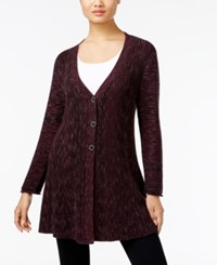 Styleandco. Style Co. Ribbed V Neck Cardigan Only At Macy's Dried Plum Combo
