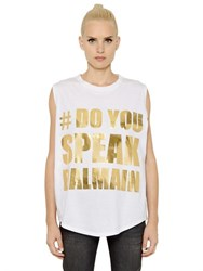 Balmain Oversized Printed Cotton Jersey T Shirt