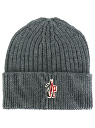 Moncler Grenoble Ribbed Beanie Hat Grey