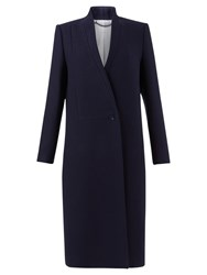 Jigsaw Collarless Column Coat Navy