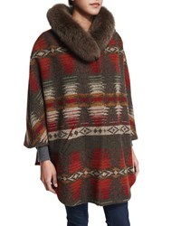 Sofia Cashmere 3 4 Sleeve Woven Cape With Fur Collar Navajo