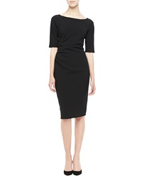 Lela Rose Half Sleeve Ruched Sheath Dress Black Black 16