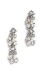 Ben Amun Crystal Drop Earrings Clear Silver