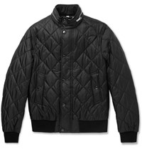 Burberry London Leather Trimmed Quilted Shell Bomber Jacket Black
