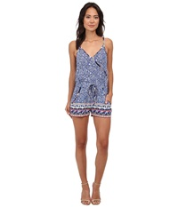 French Connection Bali Batik Drape Romper Electric Blue Multi Women's Jumpsuit And Rompers One Piece Black