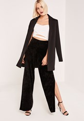 Missguided Black Crushed Velvet Split Side Wide Leg Trousers