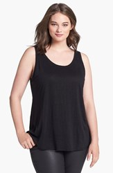 Plus Size Women's Eileen Fisher Organic Linen Tank Black