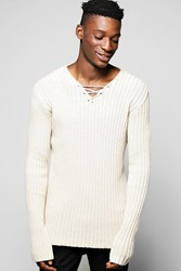 Boohoo Sweater With Lace Up Front Oatmeal