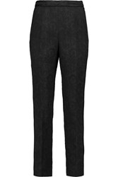 Dolce And Gabbana Embroidered Matelasse Cotton Blend Skinny Pants Black