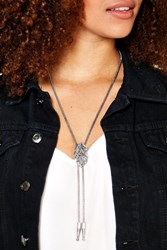 Boohoo Western Double Plunge Necklace Silver