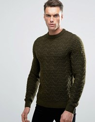 Threadbare Chunky Cable Knit Jumper Green