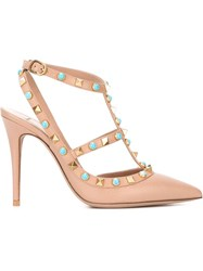 Valentino Garavani 'Rockstud Rolling' Pumps Nude And Neutrals