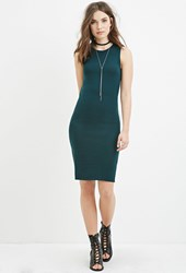 Forever 21 Heathered Sweater Midi Dress Hunter Green