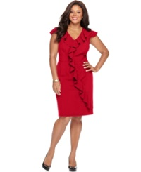 Spense Plus Size Cap Sleeve Banded Waist Ruffle Dress Rich Red
