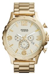 Men's Fossil 'Nate' Chronograph Bracelet Watch 50Mm Gold Champagne
