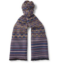 Missoni Patterned Wool Scarf Blue
