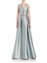 Teri Jon By Rickie Freeman Beaded Waist V Neck Gown Jade