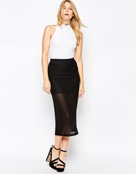 Motel Bobby Midi Skirt In Honeycomb Black Spandex