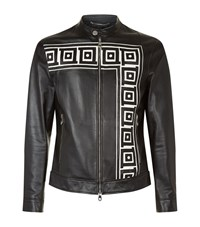 Versace Collection Greek Detail Zip Up Leather Jacket Male Black