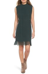 Moon River Women's Fringe Hem Cable Knit Sweater Dress