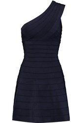 Herve Leger Eva One Shoulder Bandage Mini Dress Midnight Blue