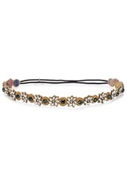 Deepa Gurnani Riley Crystal Embellished Floral Headband Green