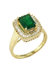 Effy Brasilica Emerald And Diamond Ring In 14 Kt. Yellow Gold