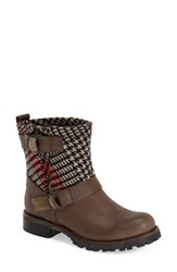 Women's Woolrich 'Baltimore' Engineer Boot Brown Leather Red Plaid Wool
