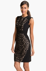 Adrianna Papell Lace Inset Crepe Sheath Dress Black