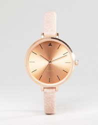Asos Tonal Large Face Skinny Strap Watch With Rose Gold Detail Nude Cream