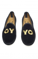 Deborah Kass Del Toro Oy Yo Velvet Smoking Slippers Edition01