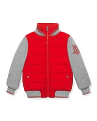 Gucci Quilted Zip Front Combo Jacket Red Gray Size 4 12