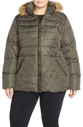 Plus Size Women's Larry Levine Quilted Down And Feather Fill Jacket With Faux Fur Trim