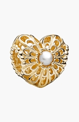 Pandora Design 'Vintage Heart' Bead Charm Gold Silver Pearl