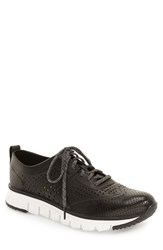 Men's Cole Haan 'Zerogrand' Perforated Wingtip Sneaker Black Perforated Leather