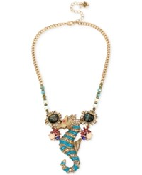 Betsey Johnson Gold Tone Crystal Seahorse Collar Necklace