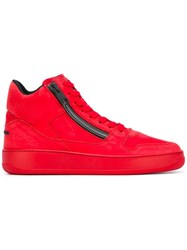 Hogan Rebel Zipped Hi Top Sneakers Red