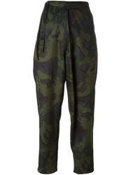 Marios Camouflage Cropped Trousers Green