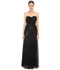 Marchesa Sequin Gown W Draped Tulle Overlay Black