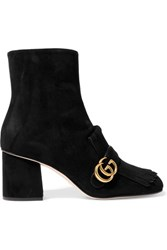 Gucci Fringed Suede Ankle Boots Black