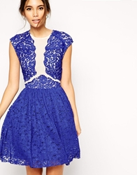 Asos Premium Prom Dress With Lace Applique Cobaltbluecream