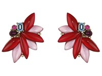 Oscar De La Renta Navette Petal C Button Earrings Ruby Earring Red