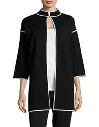 Nipon Boutique Contrast Open Front Cardigan Black White
