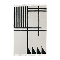 Ferm Living Kelim Black Lines Rug Large