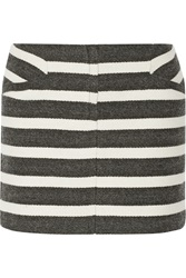Maje Geste Striped Woven Mini Skirt Gray