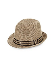 Saks Fifth Avenue Paper Straw Fedora Tan